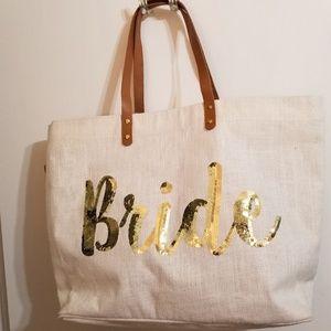 Mud Pie Sequin Bride Tote Bag Wedding Large Canvas
